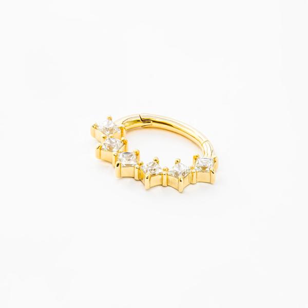 Piercing oreilles et septum en or - Princess cut Clicker