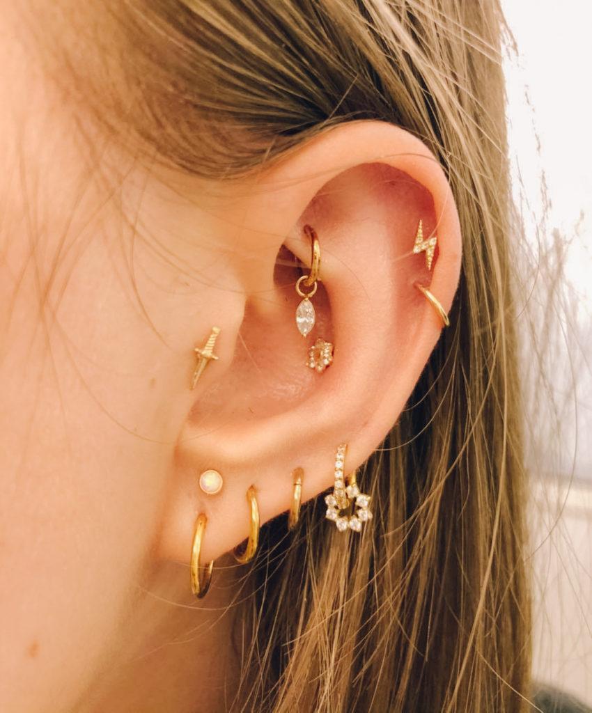 Différents piercings oreilles - Bijoux or jaune 18 carats - Steelbox